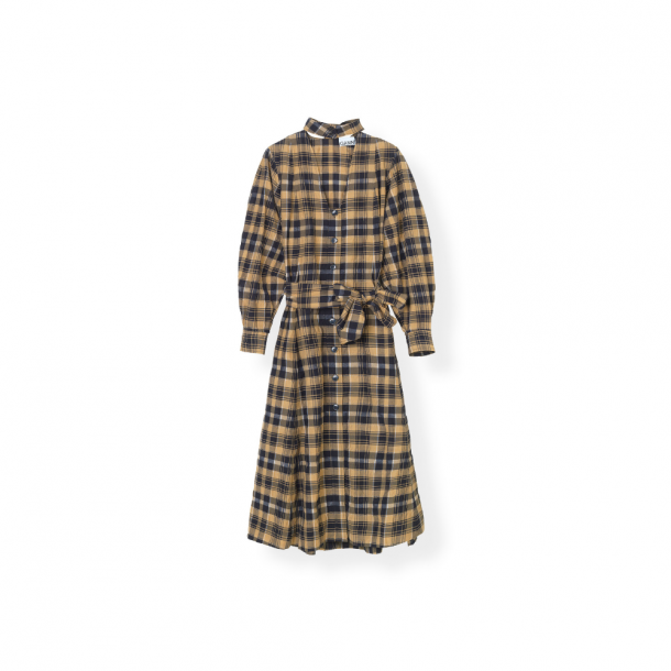 Ganni Seersucker Check Shirt Dress