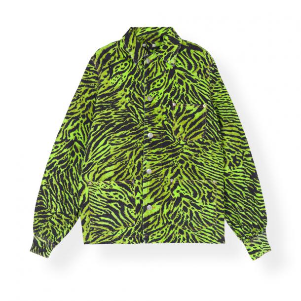Ganni Shirt Jacket Print Denim