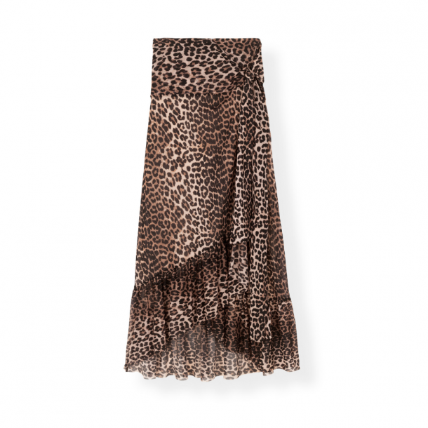Ganni Printet Mesh Wrap Skirt
