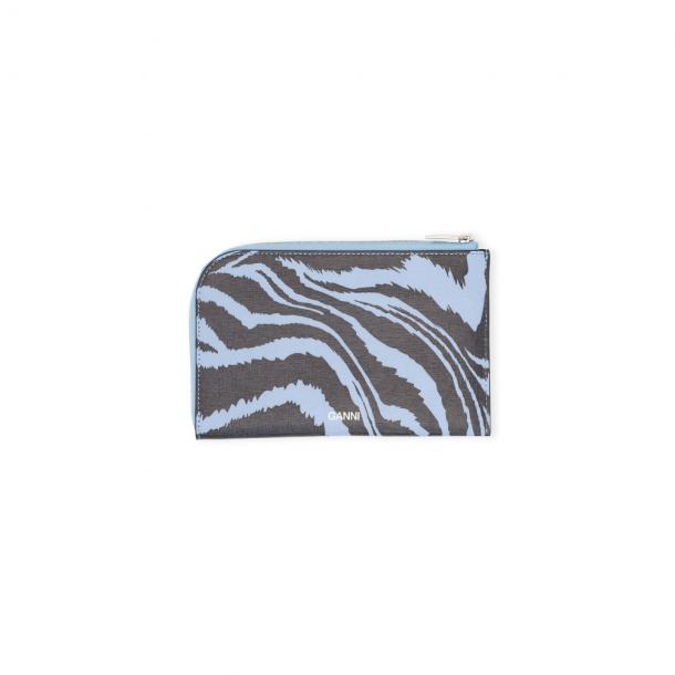 Ganni Wallet Printed Leather Forever Blue