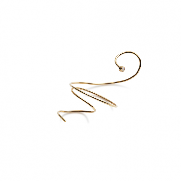 Trine Tuxen Large Spiral Earring Opal Gold Plated