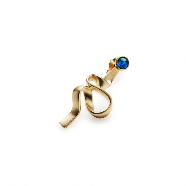 Trine Tuxen Ribbon Earring I Opal Gold Plated