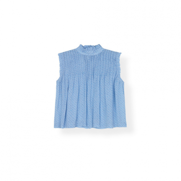 Ganni Printed Georgette Top Forever Blue