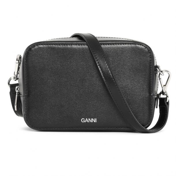 Ganni Slg Bag Textured Leather Black