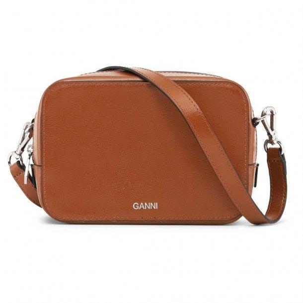Ganni Slg Bag Textured Leather Cognac