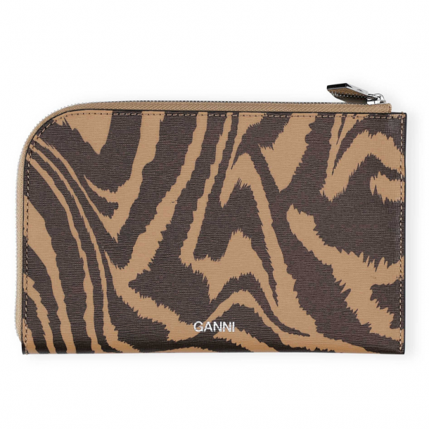 Ganni Wallet Printed Leather Tannin