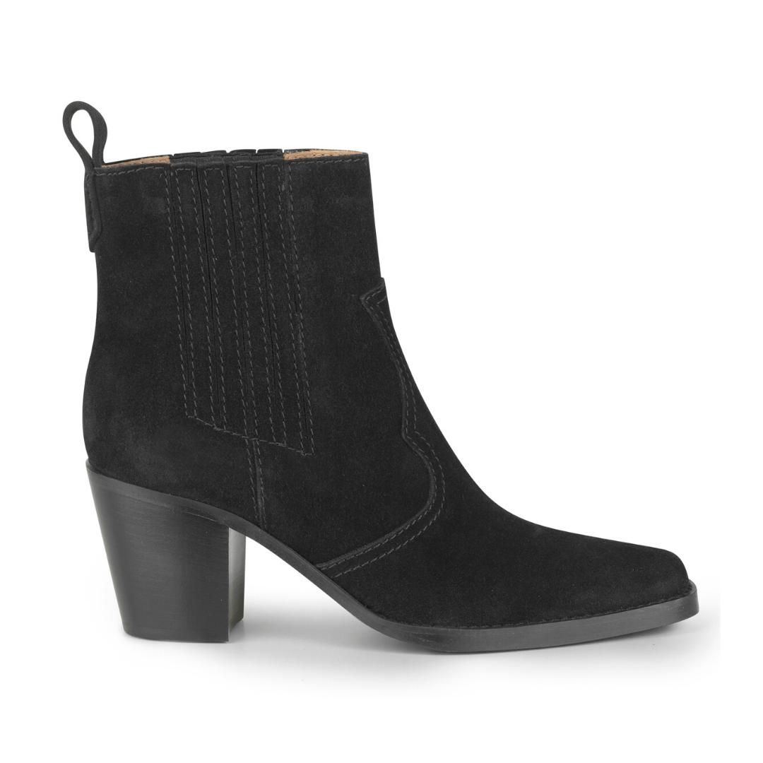 Ganni Western Ankle Boots Black