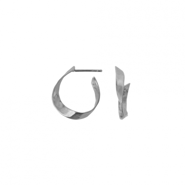 Stine A Twisted Hammered Creol Earring Silver
